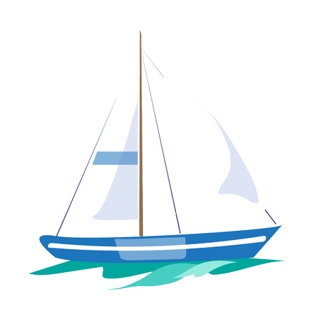 Sailboat on the Water. Flat Vector Illustration Çizim