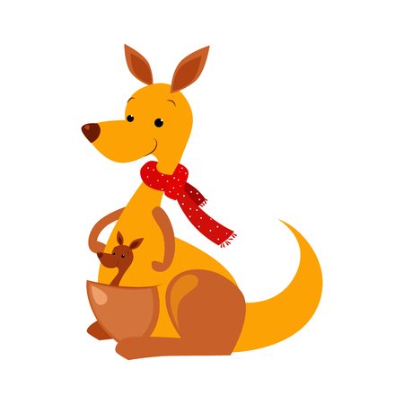 Kangaroo. Funny Alphabet, Colourful Animal Vector Illustration