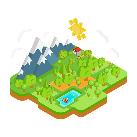 Natural Landscape with Mountains River and Forest. Vector Flat Isometric 3D Illustration Concept. Vectores