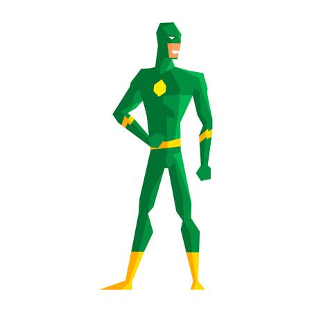 Super-héros vêtu d'une illustration vectorielle de la suite verte Vecteurs