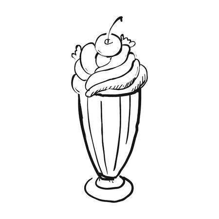 Dessert à la crème glacée. Illustration vectorielle dessinés à la main