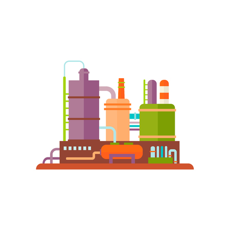 Factory Buildings Flat Vector Illustration industrial Plant