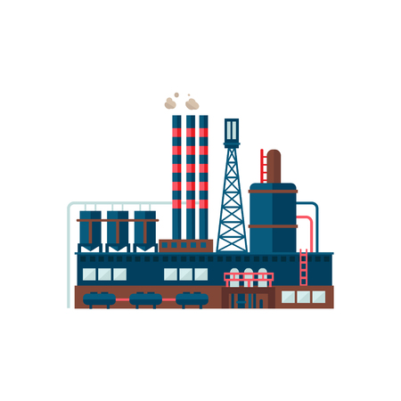 Industrial Factory Building Flat Vector Illustration industrial Plant Çizim
