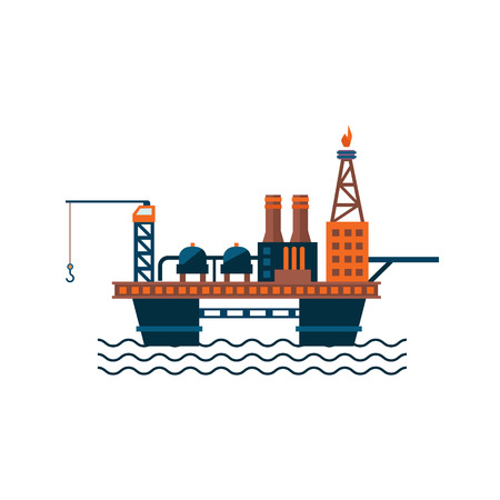 Oil Factory Platform on Water. Vector Illustartion