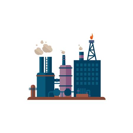 Usine Bâtiments Plat Vector Illustration Usine Industrielle