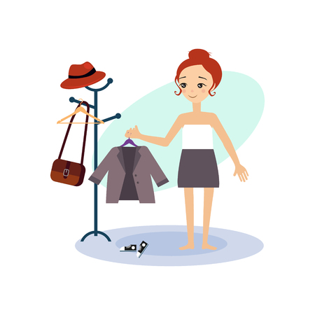 Dressing Down. Daily Routine Activities of Women. Colourful Vector Illustration Illustration