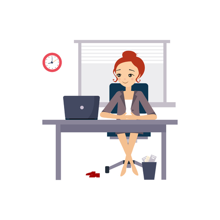 Woman at Office. Daily Routine Activities of Women. Colourful Vector Illustration Çizim