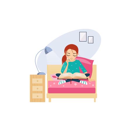 Leyendo. Actividades de rutina diaria de la mujer. Ilustración vectorial colorida