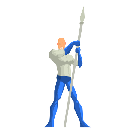 Superhero with a Spear Vector Illustration Illustration