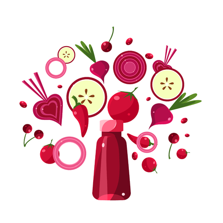 Red Smoothie Recipe. With Illustration of Ingredients