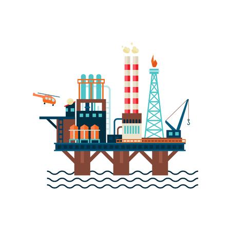 Oil Factory Platform. Vector Illustartion Stock Illustratie