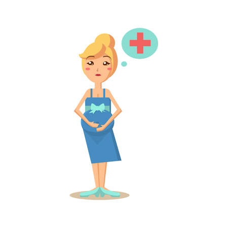 Pregnant Woman Thinking of Medicine. Vector Illustration