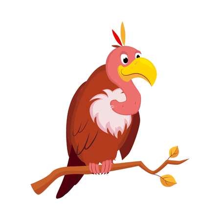 Vulture. Funny Alphabet, Colourful Animal Vector Illustration
