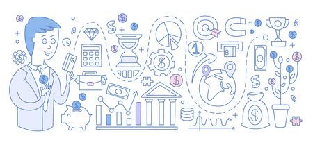 Investment Infographics. Hand drawn Vector Illustration Design for the web site, first page Ilustração