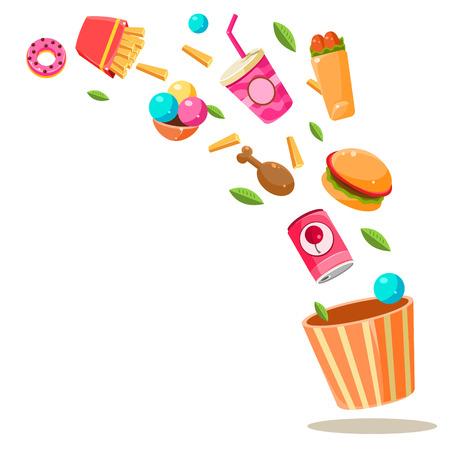 Flying Fast Food Vector Illustration Imagens - 118744153