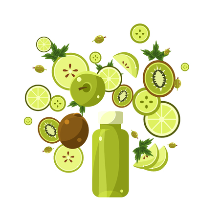 Green Smoothie Recipe. With Illustration of Ingredients