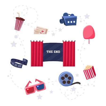 Cinema Flat Design Elements and Icons Illustration