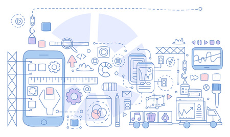 App Development Infographics. Hand drawn Vector Illustration Ilustração