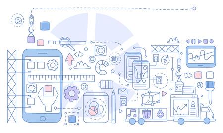 Infografiken zur App-Entwicklung. Handgezeichnete Vektor-Illustration