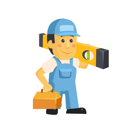 Friendly builder worker man with tools, carrying a level bubble and a belt with tools vector illustration
