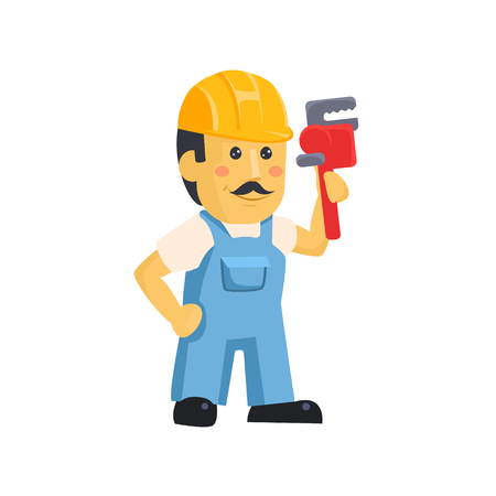 Vector clipart picture of a male mechanic cartoon character holding a huge wrench