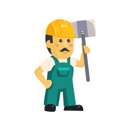 Friendly construction worker man with tools, vector illustration Reklamní fotografie - 124490500