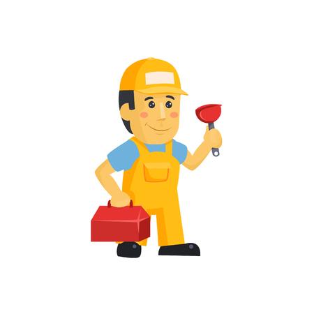 Friendly construction worker man with tools, vector illustration Reklamní fotografie - 124490501