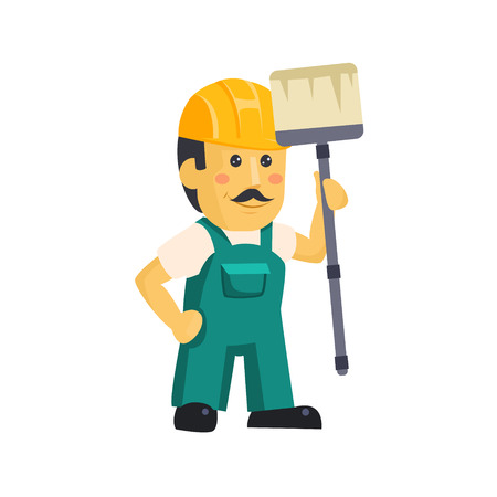 Painter Builder worker  characters with painting equipment 矢量图像