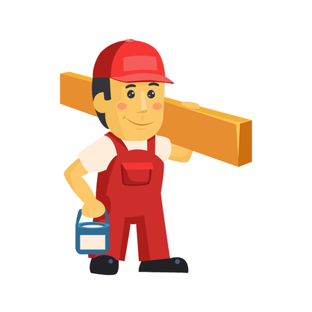 Friendly construction worker man with tools, vector Stok Fotoğraf - 118744166