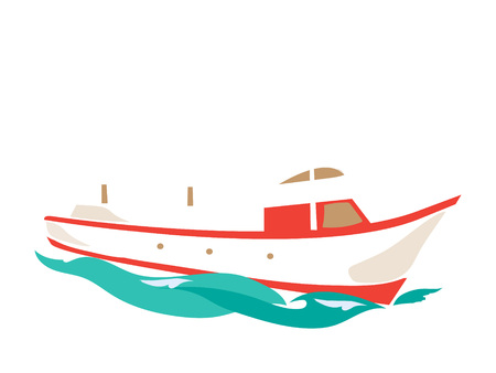 Leisure Ship on the Water. Flat Vector Illustration