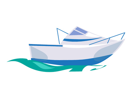 Motorboat Ship on the Water. Vector Illustration