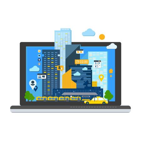 City Landscape in Laptop. Colourful Vector Illustration