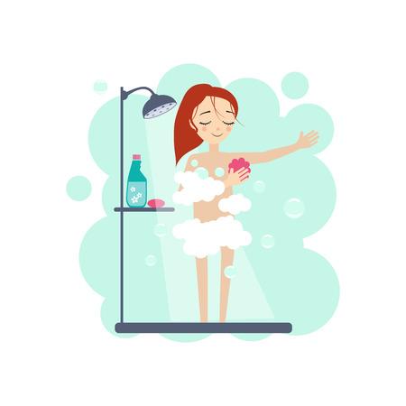 Fare la doccia. Attività quotidiane di routine delle donne. Illustrazione vettoriale colorato Vettoriali
