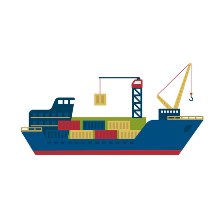 Tanker Cargo Ship with Containers. Flat Vector Illustration Ilustração