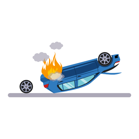 Car and Transportation Issue with Burning Car. Flat Vector Illustration