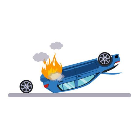 Problème de voiture et de transport avec Burning Car. Illustration vectorielle plane