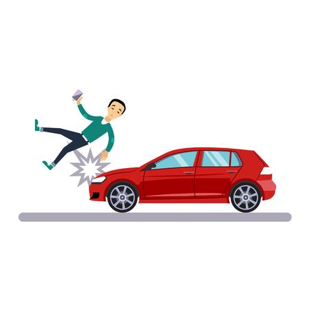 Problema de transporte y automóvil con un peatón. Ilustración vectorial
