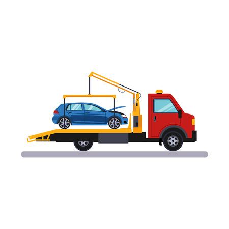 Car and Transportation. Car on Evacuator. Flat Vector Illustration