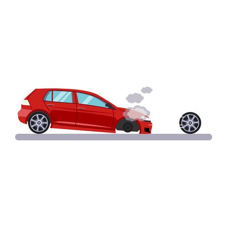 Problème de voiture et de transport avec une roue. Illustration vectorielle plane