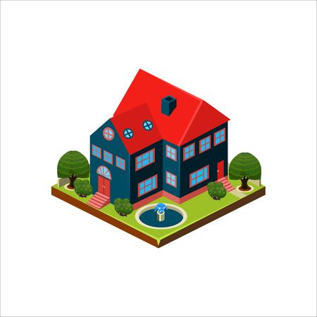 Isometrische Ikone, die modernes Haus mit Hinterhofvektor darstellt