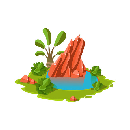Island with a Lake. Cartoon Vector Illustration Çizim