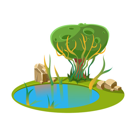 Island with a Lake and Tree. Cartoon Vector Illustration