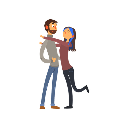 Loving young couple hugging and happy together vector illustration