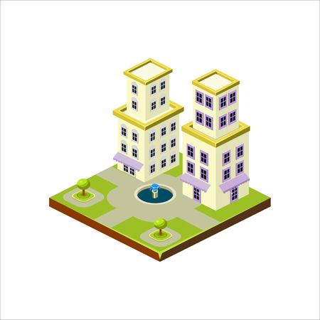 Isometric icon representing modern house with backyard vector Stockfoto - 124490542