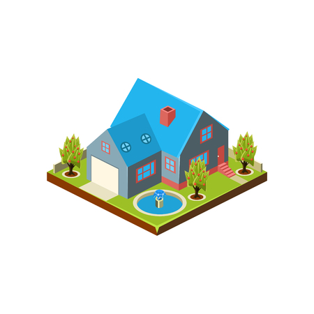 Isometric icon representing modern house with backyard vector 스톡 콘텐츠 - 124490549
