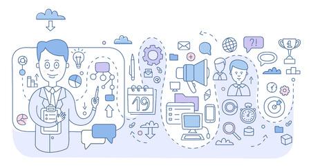 Doodle style concept of project management. Modern line illustration for web banners, hero images, printed materials Ilustração