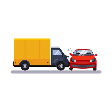 Problème de voiture et de transport avec un camion. Illustration vectorielle plane