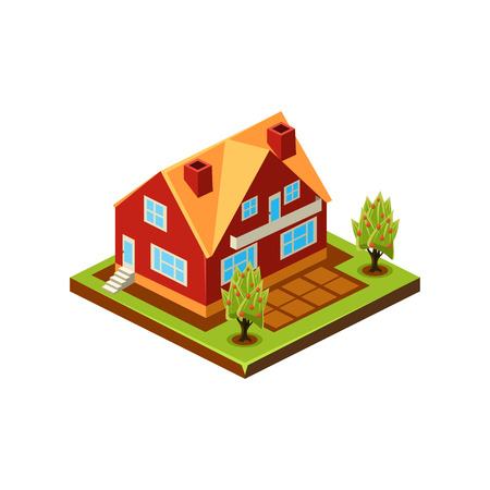 Isometric icon representing modern house with backyard vector Stockfoto - 124490560