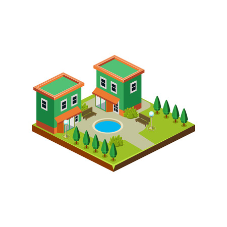 Isometric icon representing modern house with backyard vector 스톡 콘텐츠 - 124490561