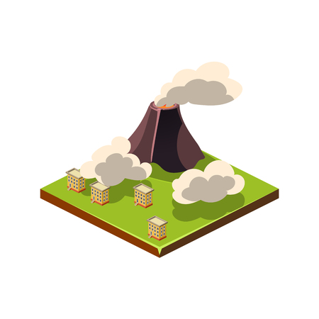 Volcano Erruption and Ash. Natural Disaster Icon. 3d Vector Illustration
